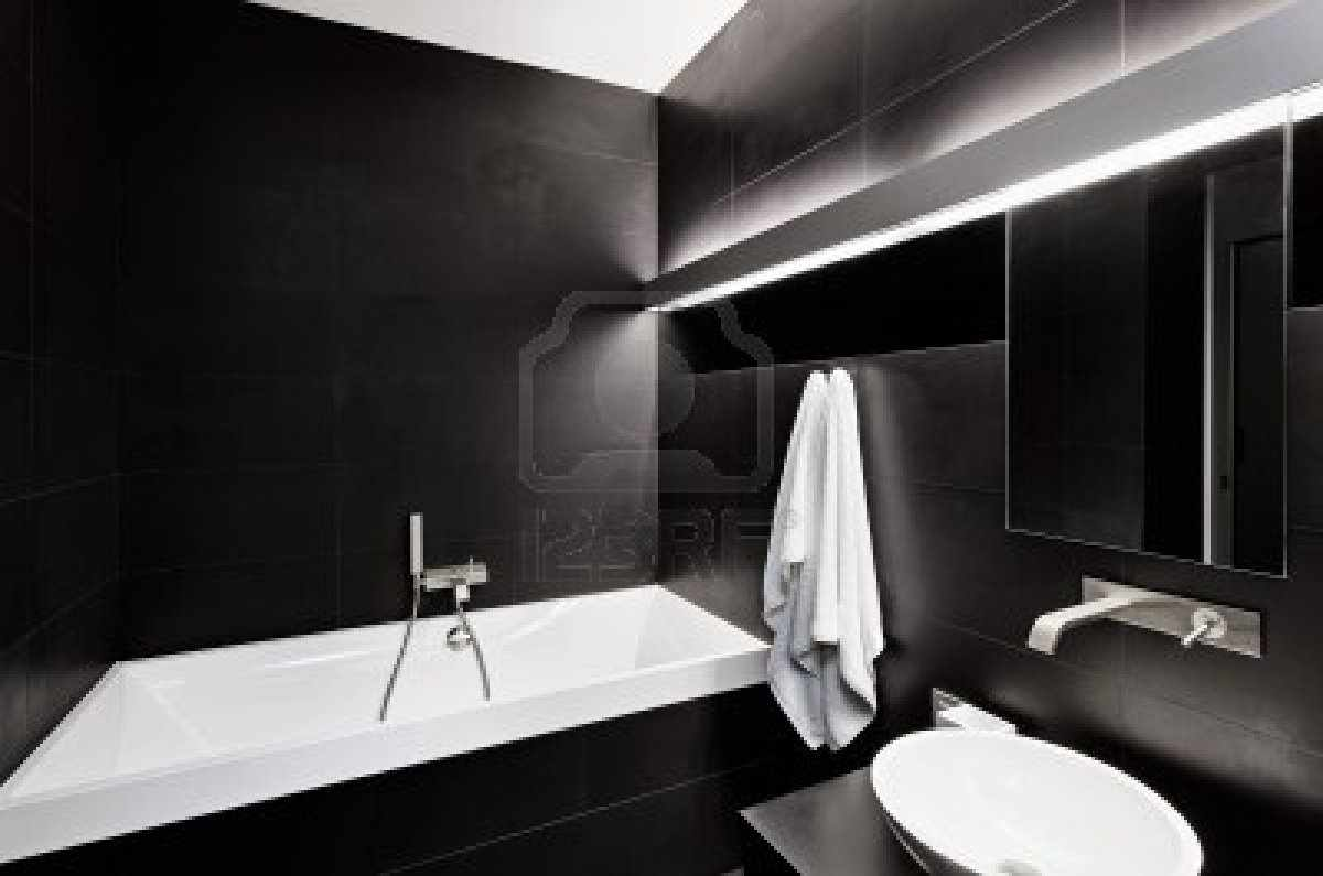 Bathroom designs black and white -  Black And White Bathrooms White Painted Wall Black Vessel Sink Bathroom Ideas Black And White