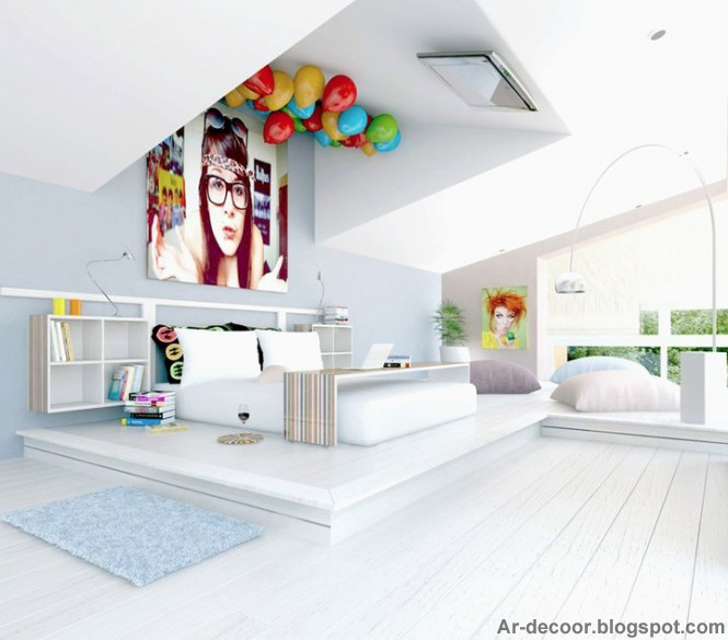 7-white-fun-bedroom-tv-on-ceiling-665x585-copy The Best Bedrooms' Design Ideas