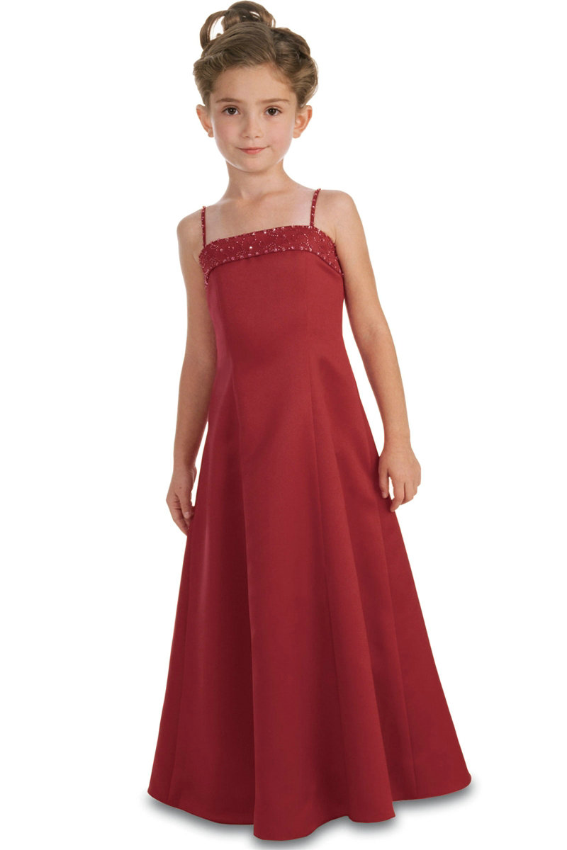 Beaded-Spaghetti-Satin-A-Line-Simple-Red-Flower-Girl-Dress-Sale Red Dress for Little Girls
