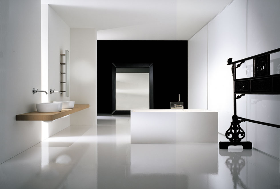Big-Black-and-White-Bathroom-with-Wooden-Shelves-for-Sink 6 Beautiful Black and White Decor Ideas