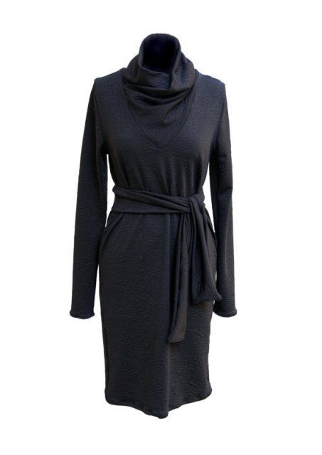 Black-Winter-Cowl-Neck-Dress-Long-Sleeves-Dress-Plus-Size-Women-Dress-... 6 Warmest Sweater Dresses Collection for The Cold Weather