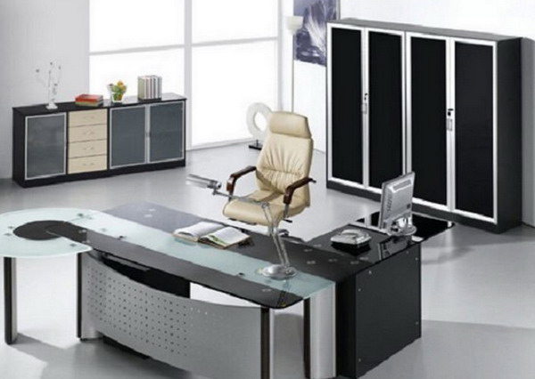 black and grey office furniture
