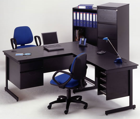 BlackOfficeFurniture-with-blue-chair 9 Black Office Desk Designs & How to Choose the Best one