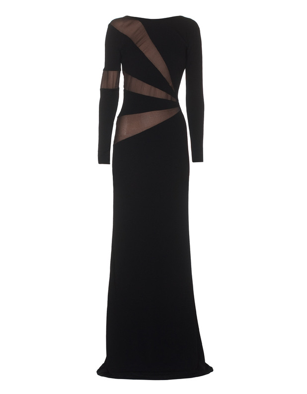 EMILIO-PUCCI-Mesh-Long-Black.-Silk-jersey-dress.-back-forward 19 Special Collection of Long Black Dresses