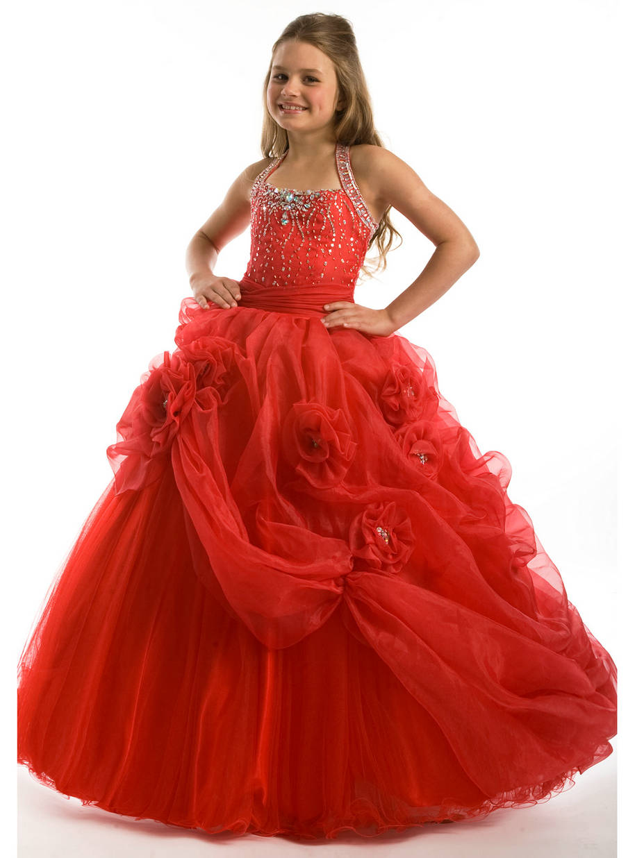 Floor-Length-Ruched-Halter-Beaded-Flower-Draping-Red-Girls-Paceant-Dress-... Red Dress for Little Girls
