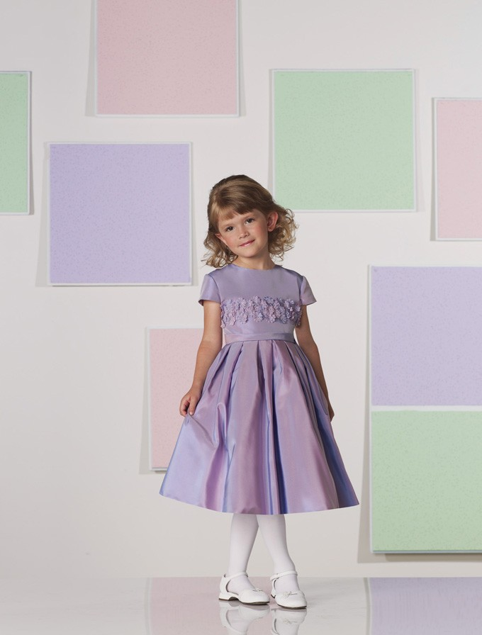 Flower-Girl-Dresses-Lavender-Iridescent-Taffeta-Round-Neckline-Short-Sleeve-... Amazing Dresses Collection for Little Princesses