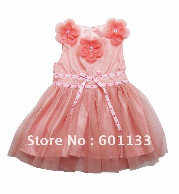 Shipping 6pcslot baby girls dress pink baby holiday dress with flowers