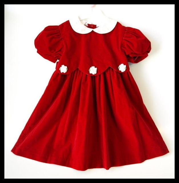 Girls-RED-VELVET-satin-Holiday-Easter-tea-party-DRESS-4T-4-vintage-style Red Dress for Little Girls