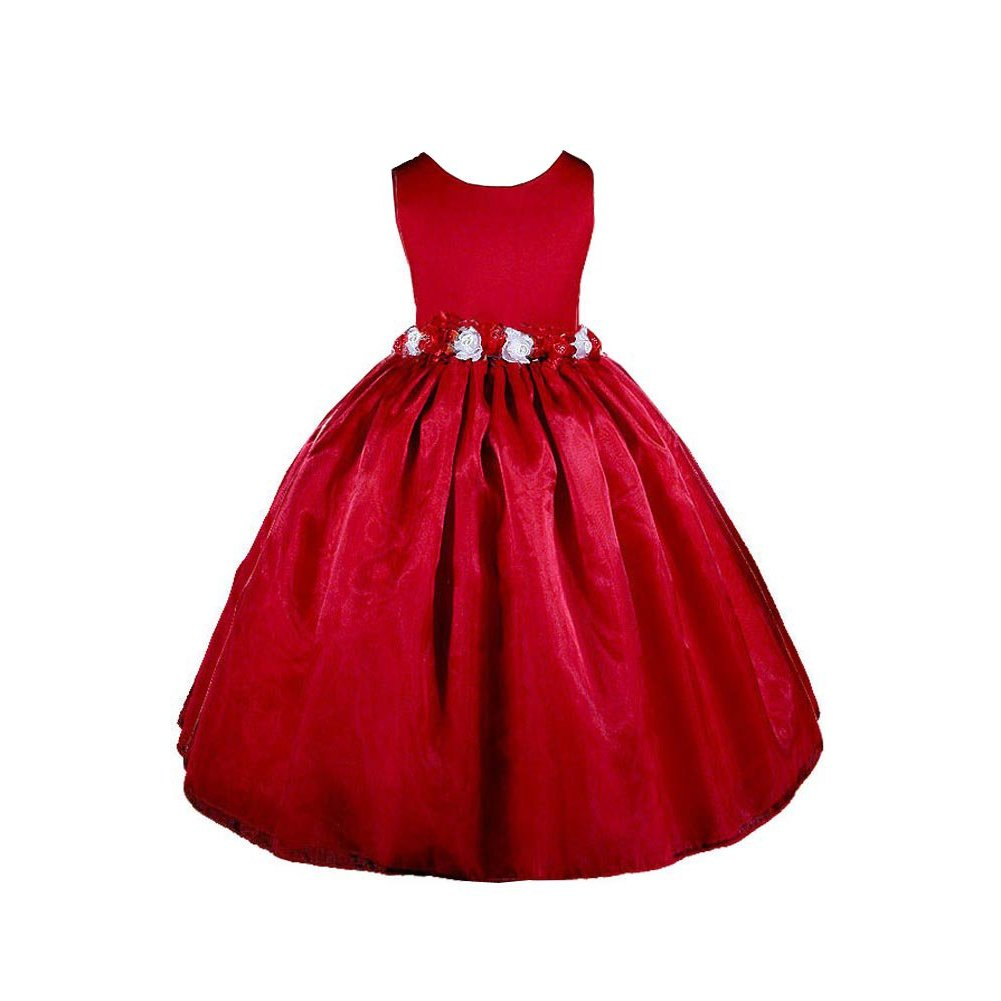 Girls-Red-Christmas-Dress-Applique-Holiday-Frock-With-Tree-Picture Red Dress for Little Girls