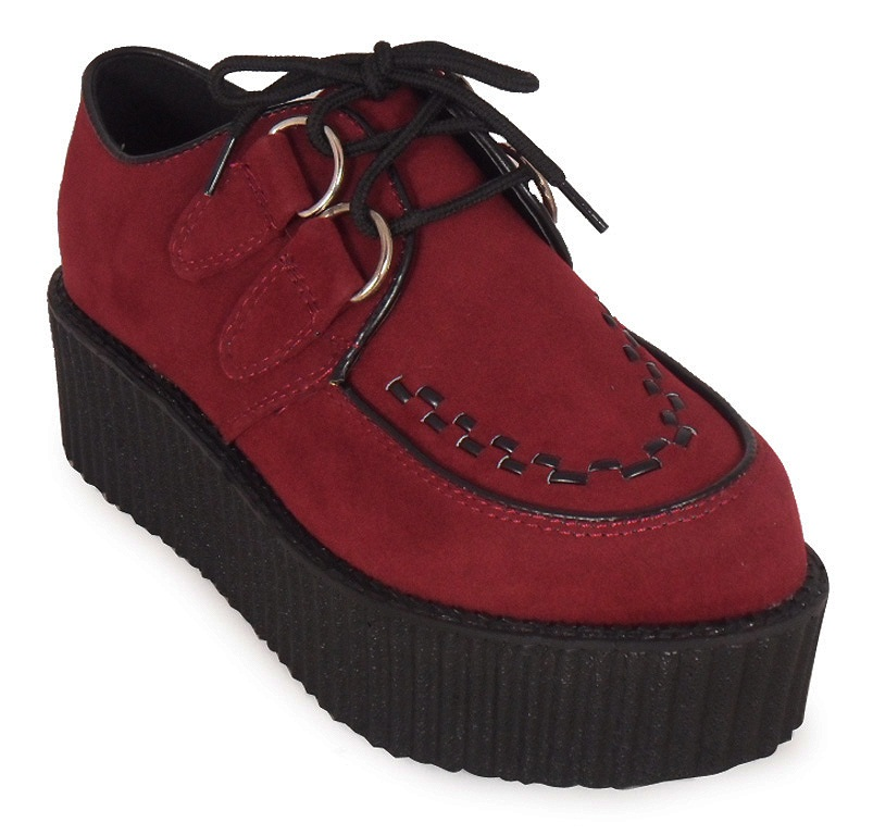 LADIES-FAUX-SUEDE-PUNK-GOTH-STUD-DOUBLE-PLATFORM-FLAT1 Is Creeper Shoes Strange?