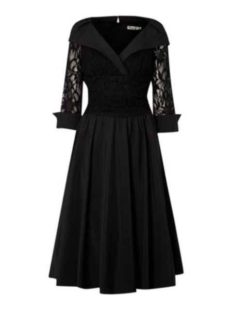 Lace-Detail-34-Sleeve-Ruched-Waist-Dress Do you have a party and do not know what to wear?