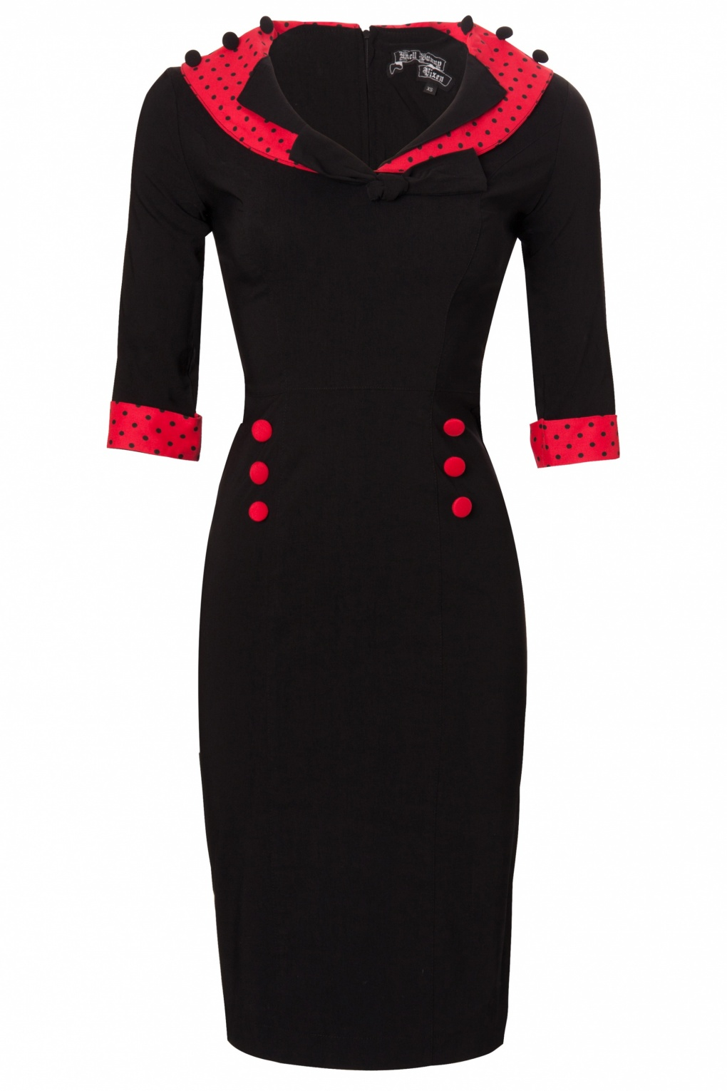 Long-sleeve-dresses-»-Bunny-»-50s-Thelma-Pencil-Dress-Black-Red-polka 19 Special Collection of Long Black Dresses