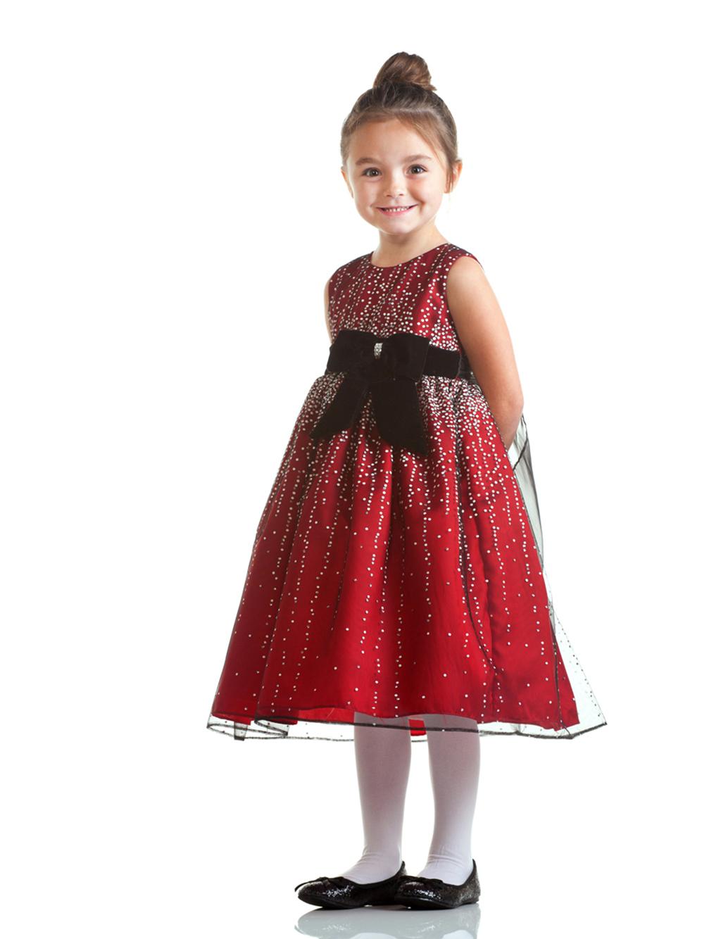 Olivia-Sparkle-Red-Flower-Girl-Dress-with-Velvet-Bow-Sash-for-Girls Red Dress for Little Girls