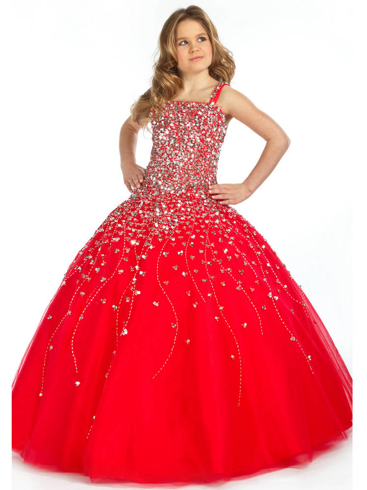 Princess-Long-Straps-Crystal-Ruched-A-Line-Zipper-Red-Girls-Pageant-Dresses-... Red Dress for Little Girls