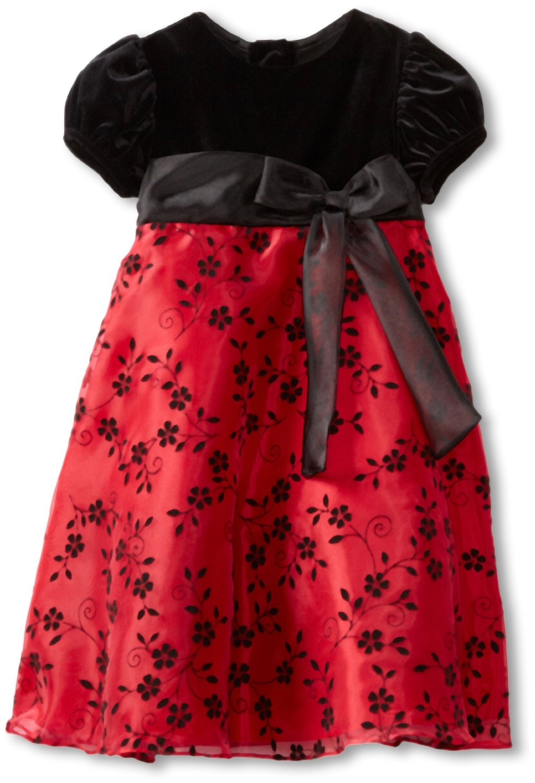 Rare-Editions-Girls-2-6x-Flocked-Dress Red Dress for Little Girls