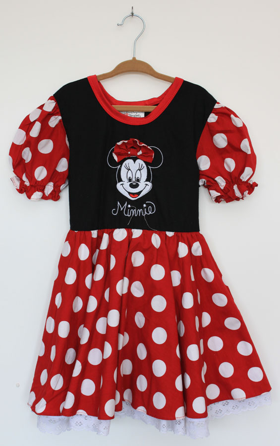 Walt-Disney-World-Disneyland-Resort-Girls-Minnie-Mouse-Dress-XS.-Red-... Red Dress for Little Girls