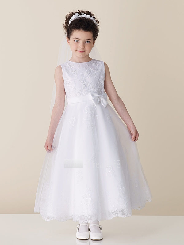White-A-line-Ankle-SatinOrganza-Flower-Girl-Dress Amazing Dresses Collection for Little Princesses