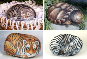 animals portraits painted on rocks