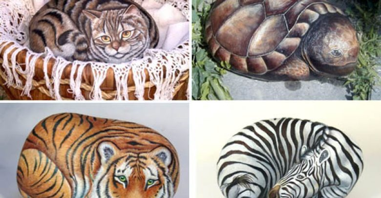 animals portraits painted on rocks