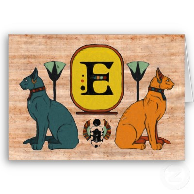 egyptian_cat_cartouche_monogram_greeting_card_e-p137123862521839332b2wgi_400 Papyrus Greeting Cards ... SPECIAL Gift For Your Friend