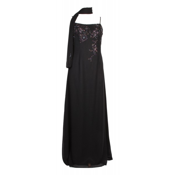 long-black-flower-sequin-sleeveless-dress- 19 Special Collection of Long Black Dresses