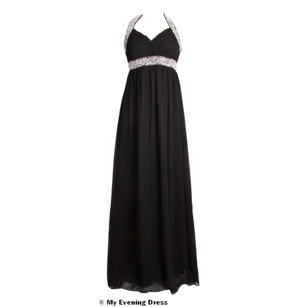 long-black-halterneck-evening-dress 19 Special Collection of Long Black Dresses