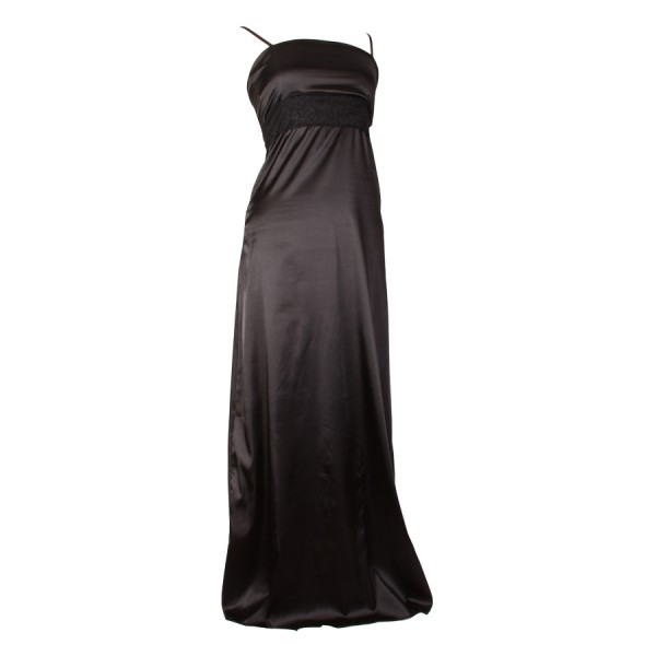 long-black-satin-floral-band-dress 19 Special Collection of Long Black Dresses
