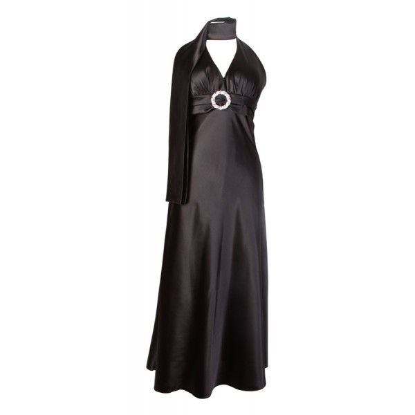 long-black-silver-ring-halterneck-dress 19 Special Collection of Long Black Dresses