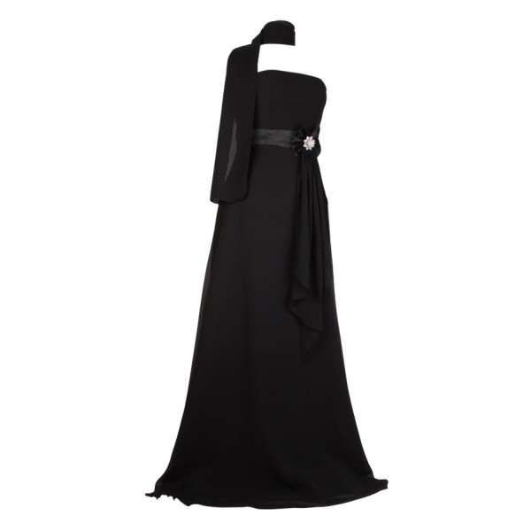 long-black-strapless-gown 19 Special Collection of Long Black Dresses