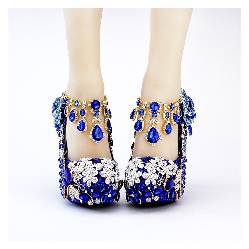 luxury-fashion-blue-peacock-wed-bride-shoes-party-shoes Most Popular Blue Women Shoes