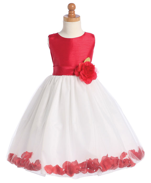 red-and-white-petal-girls-formal-dresses Red Dress for Little Girls