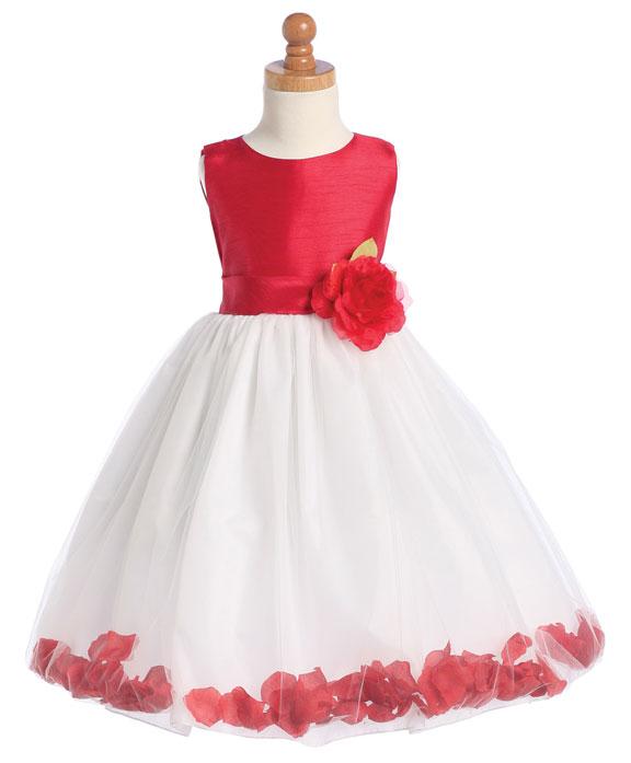 red-and-white-petal-girls-formal-dresses Red Dress for Little Girls