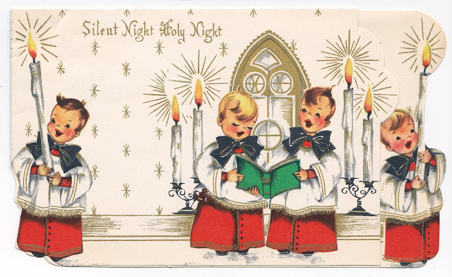 vintage-christmas-card-silent-night-choirboys Most Popular Vintage Greeting Cards