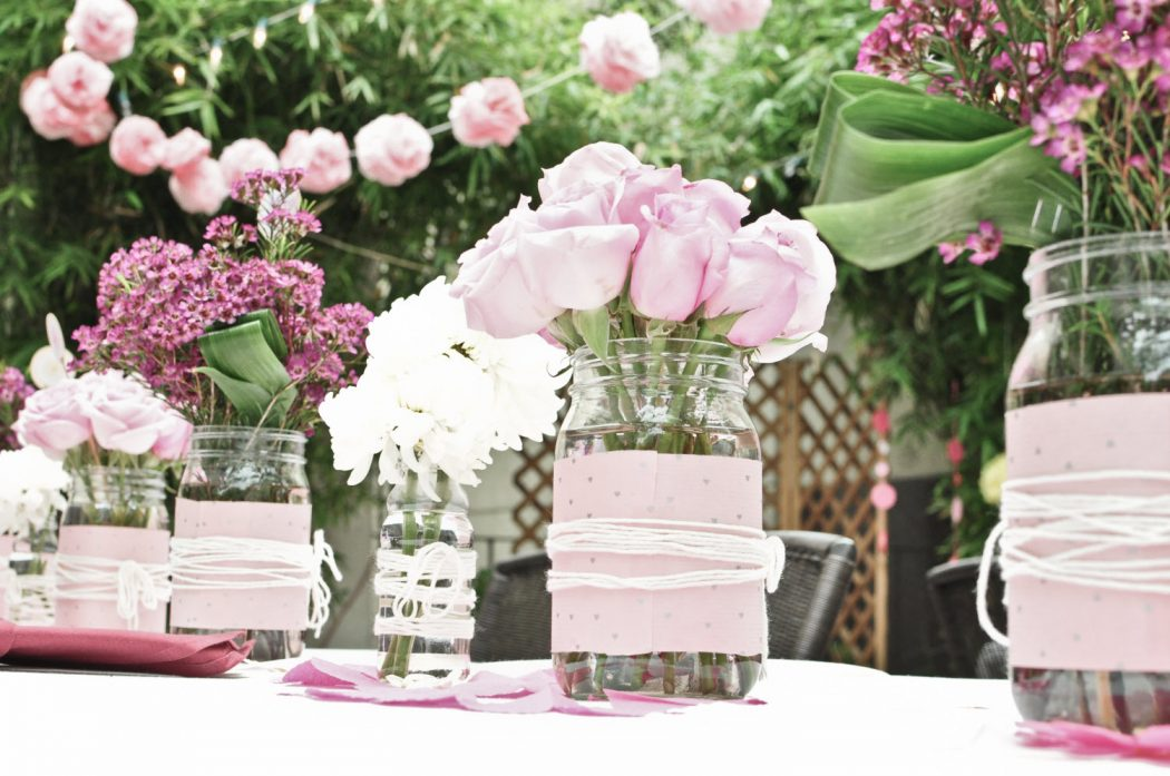 wedding-flower-centerpieces-pink-roses-wax-flowers-
