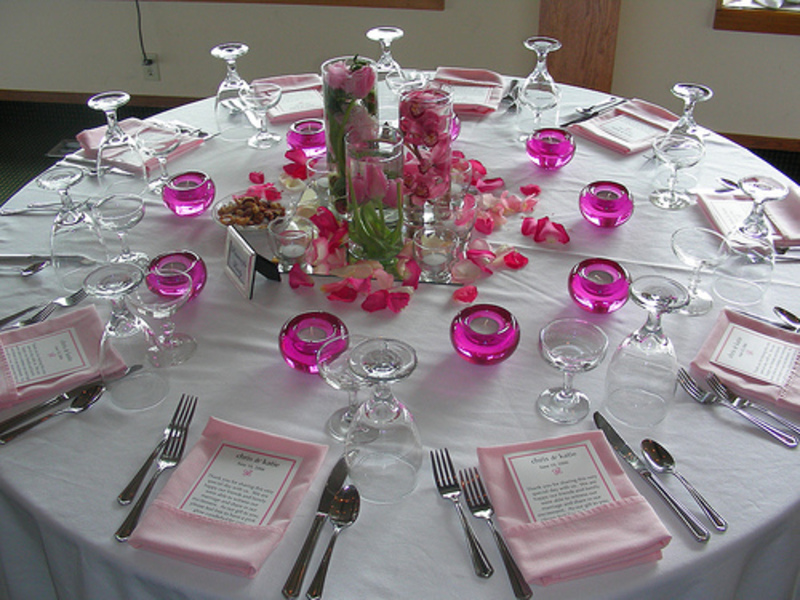 Wedding reception table decorations romantic decoration for Wedding party table decorations