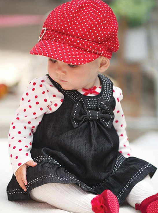 2012New-baby-autumn-winter-dress-suits-girl-Dot-bowknot-dress-baby-hats-jeans-vest-skirts-Long Stylish Collection Of Winter Dresses For Baby Girls
