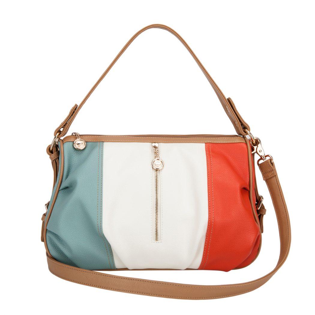 Big Handbag Shop Womens Top Handle Multi Pocket Small Satchel Bag