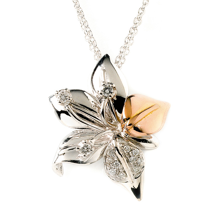 BOFDG3 White Pink Gold Diamond Flower Pendant 2013 Top Jewelry Trends