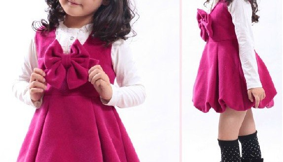 Cute-Winter-Children-Dress-girls-dresses-Big-bow-girl-dress-kids-dresses-4-size-available-accept