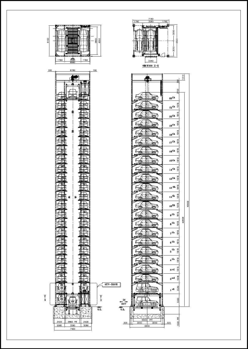 Elevator-tower-Car-Parking-System Fully Automated Car Parking Systems