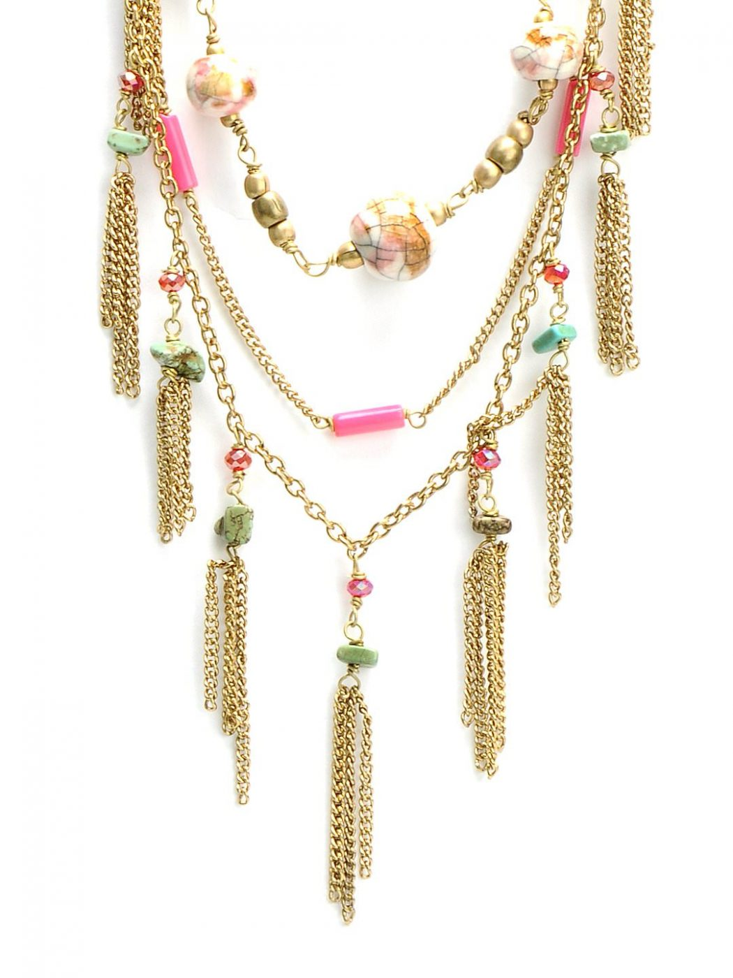 Ivory Tag Women Pink and Golden Necklace