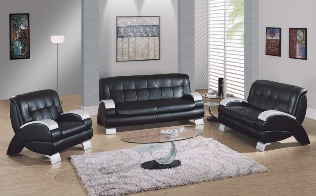 Luxury-black-leather-living-room-furniture-set 15+ Helpful Ideas for Designing Your Living Room [Photos]
