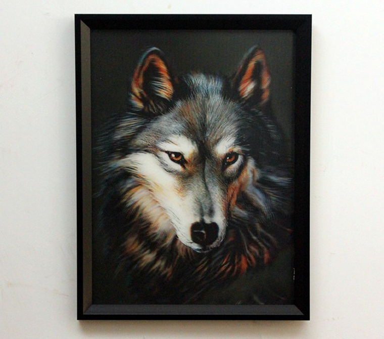 Wolf-3D-decorative-wall-painting-framed-animal-home-hanging-living-3D-PET-lenticular-picture-amazing-visual 45 Stunning 3D Paintings for Decoration