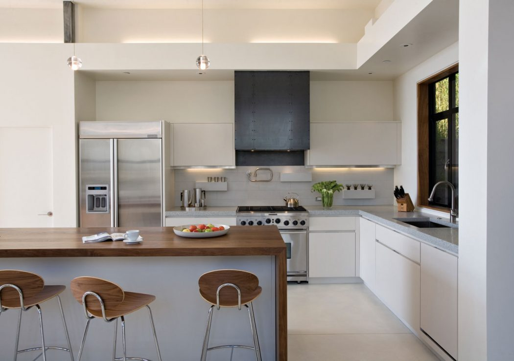 fantastic-design-white-kitchen-cabinets-with-wooden-surface-and-bar-stools 15 Creative Kitchen Designs