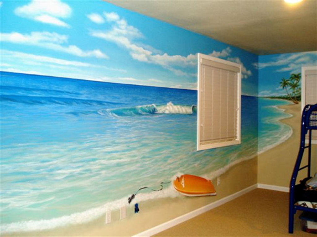 if-your-child-s-room-is-not-large-you-ll-get-some-beach-themed-murals 45 Stunning 3D Paintings for Decoration