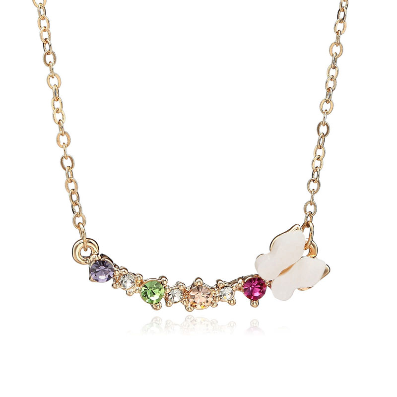 m Butterfly Multi colored Crystal Bar Pendant Necklace Gold