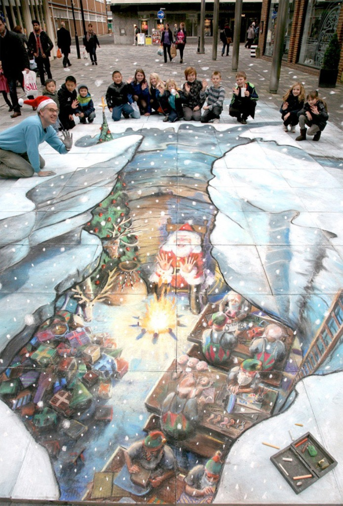 santas-grotto 45 Stunning 3D Paintings for Decoration