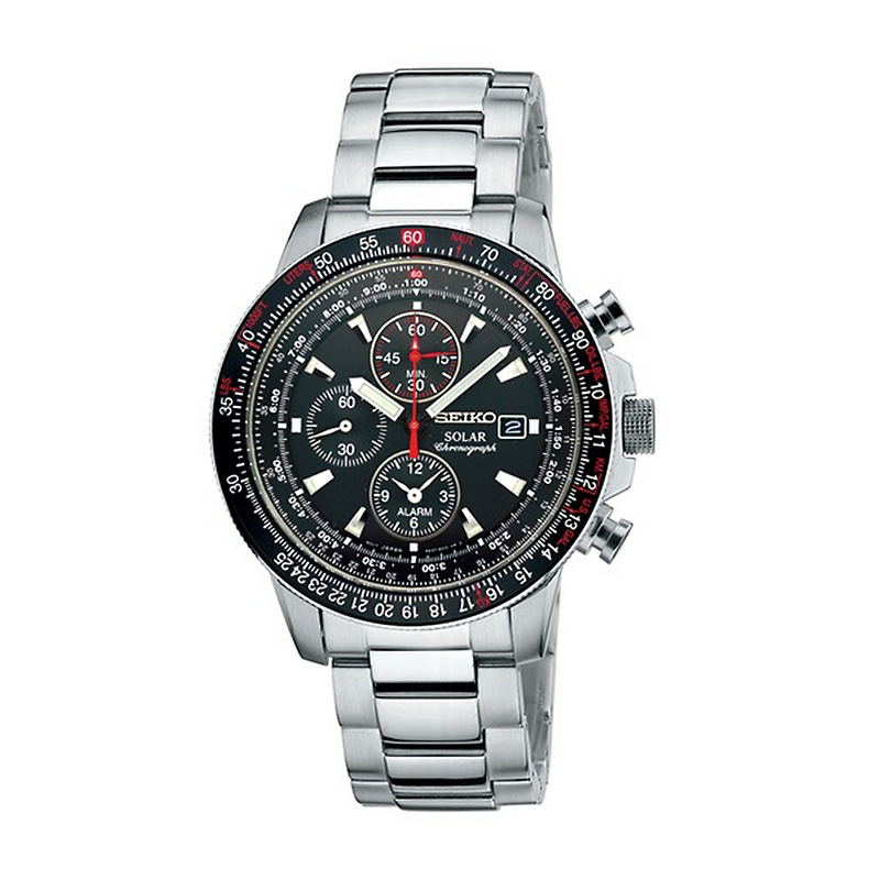 seiko-mens-solar-alarm-chrono-watch-with-red-accents Most 35 Stylish Solar Powered Timepieces