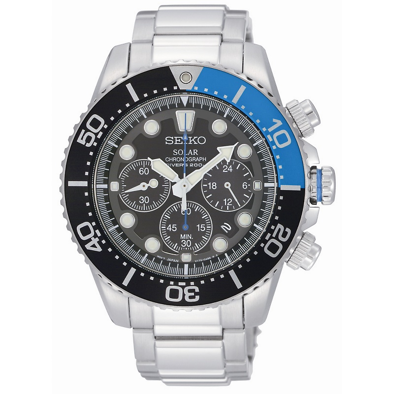 seiko-mens-solar-chronograph-diver-watch-w-black-dial Most 35 Stylish Solar Powered Timepieces