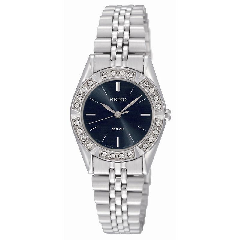 seiko-womens-solar-dress-watch-with-swarovski- Most 35 Stylish Solar Powered Timepieces
